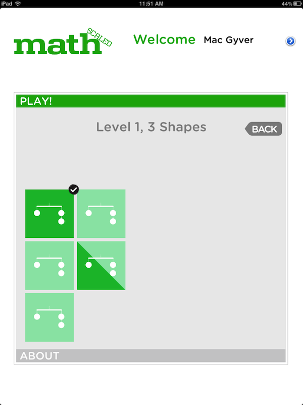 screenshot of the Level 1 3x3 puzzle select screen